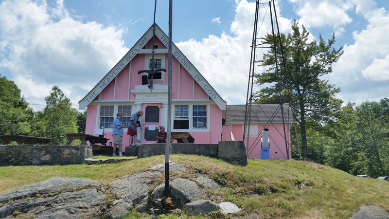 The iconic Pink Clubhouse at Stellafane.