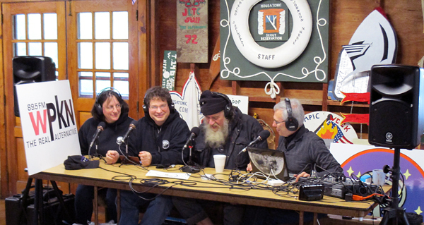 The live WPKN radio program. Speaking here, from left to right are Cheryl Barker, Greg Barker, Bob Carruthers, and host Andy Poniros.
