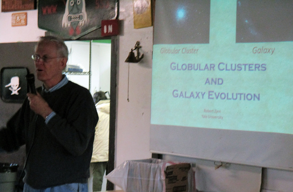 Dr. Robert Zinn gave an overview of his extensive research on globular clusters and galactic evolution.