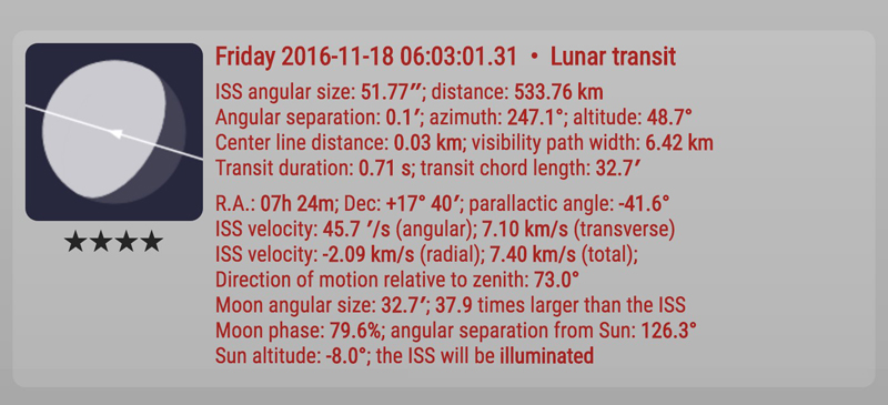 Transit data. Four stars indicate very good viewing quality and close proximity to your location.