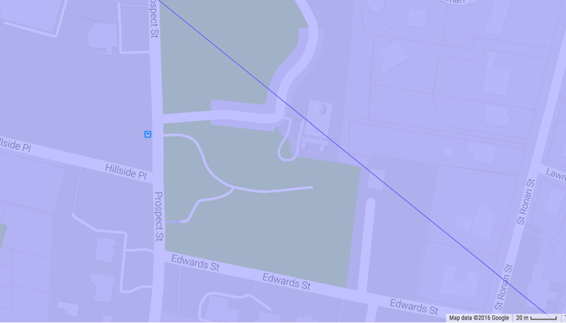 Centerline of transit path directly over LFOP!