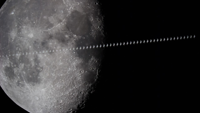 Success! The ISS streaks across the sky and the Moon, captured at 60fps.