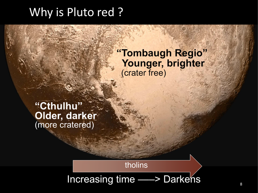 Older, colder surfaces of Pluto are red likely from tholins. The older the colder non-vertical surface, the redder.